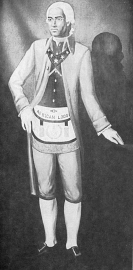A portrait of Prince Hall in Masonic regalia.